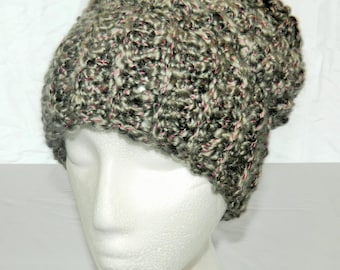 Crocheted Grey With Pink Slouchy Hat Beanie