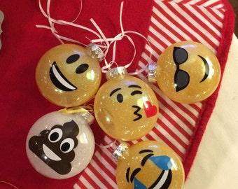 1 emoji glitter ornament - you pick!
