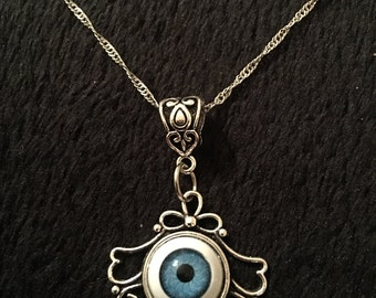 80p UK P&P 3D Blue Eyeball Eye Ball Cameo Necklace Horror Rock Pendant 17inch Silver Chain *UK cabochon lucky protection charm