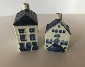 Vintage KLM Airline Miniature  Delft Blue Houses - Unusual Opening in Back - Made in Holland