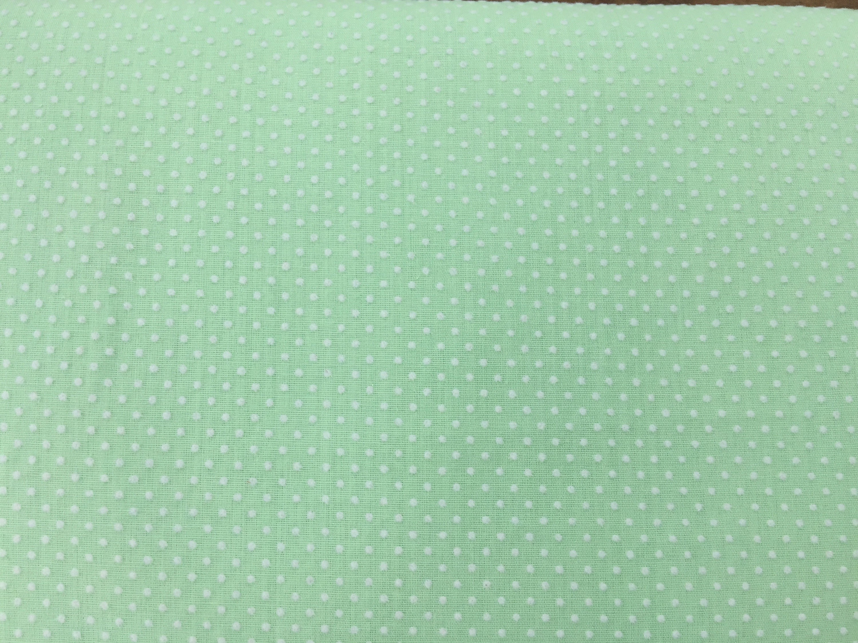 dotted swiss fabric vintage light green white dots doll clothes