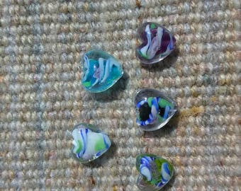 Lampwork Heart beads 12 mm
