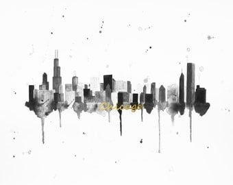 Chicago Skyline Art - Chicago Print - Chicago Art - Chicago Skyline Painting - Chicago Wall Art - Skyline Wall Art