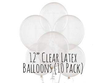 "12"" Clear Balloons, 12 Inch Transparent Balloons, 10 pack, 1 ft Clear Latex Balloon, Party Decorations, Wedding Decor, Birthday Decoration"