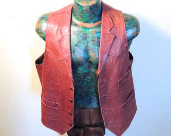 Cool 1960's Men's Red Leather Vest, Made By Reed, Super Nice, Vintage Size Med/Large, Looks & Fits Great!