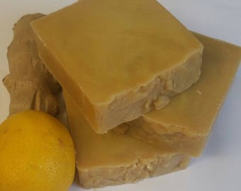 Ginger - Lemon - Soap - handmade soap - luxury soap - Cold Process soap -  Moisturising Soap - Natural Soap, 15% Shea Unrefined Butter