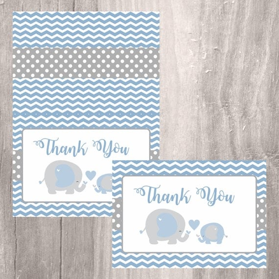 blue elephant thank you card printable baby shower thank you card