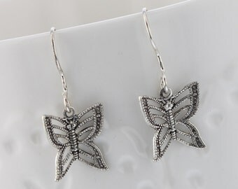 Handcrafted butterfly dangle earrings. Filagree, Sterling Silver, Butterfly, Silver, Nature inspired