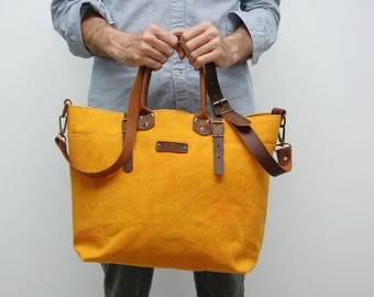 waxed canvas bag with leather handles and closures,yellow color