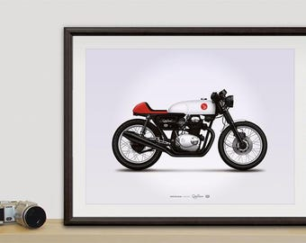 Honda CB350 cafe racer motorcycle illustration poster, print 18 x 24 inches