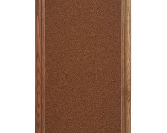 Brown Oak Corkboard, Bulletin Board Inside Size: 12x36