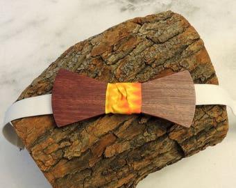 Purpleheart wood bow tie; Orange flame fabric center tie; Wooden bow tie; Unique bow tie; Handmade bow tie