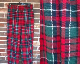 Funky 1980s Tapered Elastic Red Green Plaid Tartan Pants, 10P