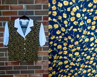 Navy and Yellow Floral Peter Pan Collar Crop Top, M