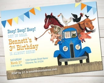 Little Blue Truck Invitation, Little Blue Truck Birthday, all ages - digital file or professionally printed