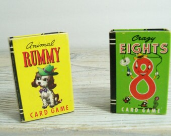 Vintage Card Games Miniature Peter Pan Card Games Crazy Eights and Animal Rummy Whitman Publishing 1951 Original Box No 4119-10 and 4120-10