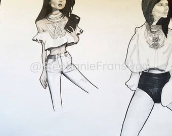 "Fashion Illustration titled ""Dylanlex"" Inspired by Jewelry designer from DylanLex"