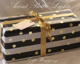 Wine Bottle Lights Gift Wrapping Service - Our Customers - Christmas Paper -Pattern Color Choices -Add on to Cart -Women Men Kids -Gift Tags