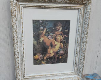 Beautiful Bucolic Cherub Print in Wonderful Vintage Frame!