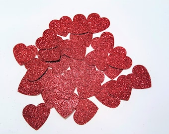 Red glitter hearts die cuts