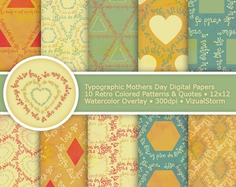 Mothers Day Digital Paper Typographic Patterns Geometric Shapes Watercolor Papers Printable Mom Birthday Party Scrapbooking Retro Background