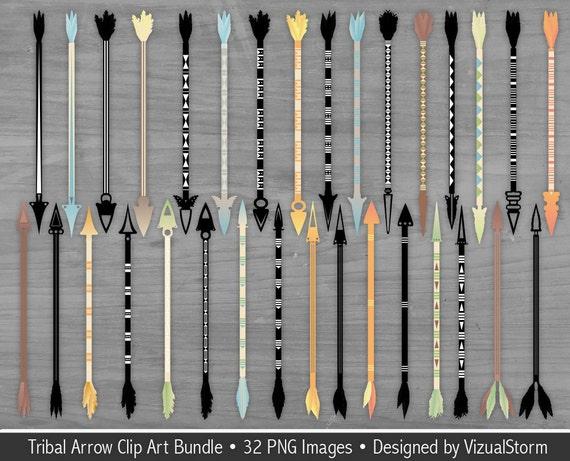 Tribal Arrow Clipart Bundle Feathered Arrows Silhouettes