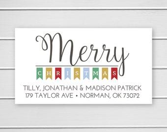 Merry Christmas Return Address Stickers, Christmas Return Address Labels, Return Address Stickers (#525-1-L)