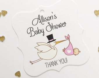 Baby Shower Tags, Sweet Baby Shower Favor Tags, Stork Baby Shower Tags, Custom Tags  (FS-032)