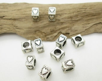Small Square Rustic Heart Spacer Bead, Large Hole Bead, European Heart  Bead, 8x6mm (10)