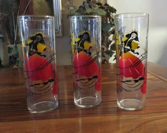 Beautiful Vintage Colorful  Beverage Glasses  With  Dancer Set of Three
