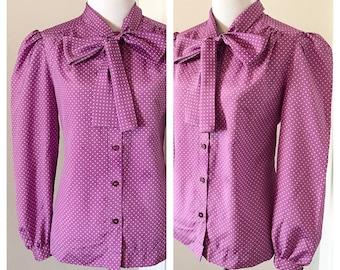 Vintage Purple Polka Dot Blouse. Vintage Lavender Blouse with Large Bow. Vintage Purple Blouse with Swiss Dots. Blouse w/ Bow.