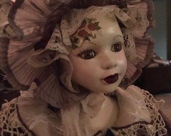 """Hand Painted Vintage Bisque Doll """"Bell""""  OOAK!"""