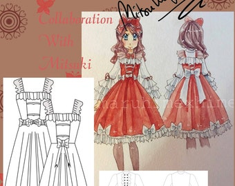 dress Lolita  sewing pattern, dress lolita pattern, sweet lolita, party dress, sailor dress size 38/44 PDF SP EN download