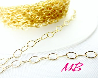 14k Gold-filled Chain, 2.2mm Gold Filled Flat Cable Chain, 3 ft