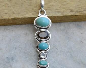 Tibetan Turquoise, Smoky Quartz, Green Amethyst Gemstone Pendant,  925 Sterling Silver Pendant, Birthstone Gift Chain Necklace Jewelry
