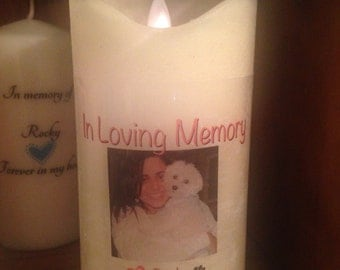 """Memorial Candle 8"""" tall"""