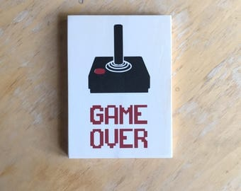 Gamer Sign - Game Over - Retro Video Game Home Decor -  Video Game Art -  Geek Gamer Gift -  Retro 80s Wood Wall Hanging