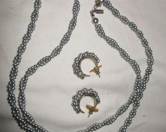 Vintage Marvella gray faux pearl necklace & earrings