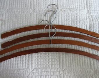 Vintage Thin Dark Wood Wooden Hangers - Set of Four