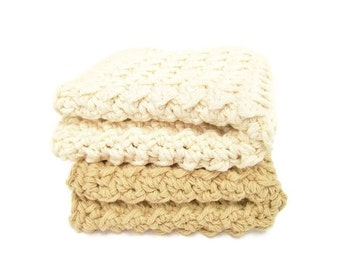Crocheted Washcloths or Dishcloths in Khaki and Natural (2)