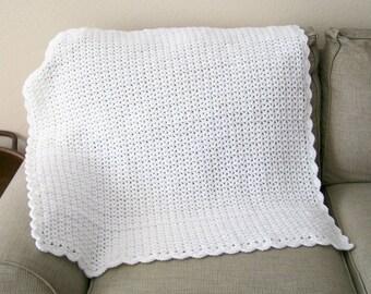 White Baby Blanket, Baby Boy Afghan, Baby Girl Afghan, Crocheted Baby Blanket
