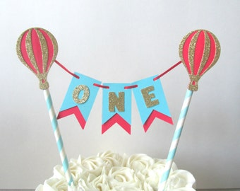 Up Up and Away Cake Topper Hot Air Balloon Cake Topper Red and Aqua Hot Air Balloon Party Decor Hot Air Balloon Birthday Bunting Cake Topper