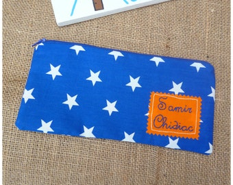 Stars Pencil Case, Personalised Pencil Case, Blue Pencil Pouch, Personalized Pencil Pouch, Gift for Kids, Back to School, Stationery Storage