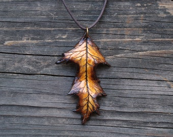Leaf Necklace, Polymer Clay, Orange Brown Autumn Leaf, Nature Jewelry, Handmade OOAK, Earthy Hippie Pagan Fashion, Hand Sculpted Pendant