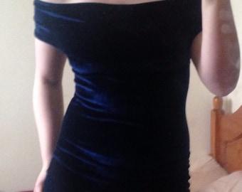 Over 30% off! Reduced! Off the shoulder bardot neckline style crushed velvet bodycon dress or skater style dress