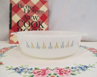 Vintage Anchor Hocking Fire King Candle Glow 2 Quart Casserole Dish