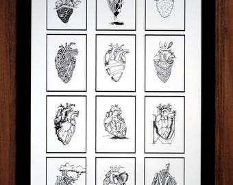 12 Hearts Poster, hearts, anatomical hearts, drawings, pen and ink, artwork, series, graphic, home decor