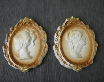 Vintage Chalkware Cameo Plaques - 1960s