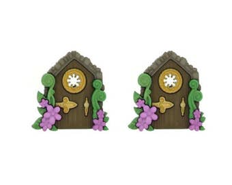 Fairy Door Buttons Jesse James Buttons Believe in Fairies Dress It Up Buttons Set of 2 Shank Back Purple Flowers - 90