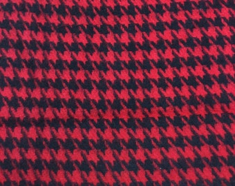 Red with Black Hound's-tooth Wool - VINTAGE